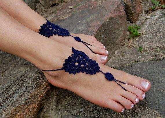 Wedding - Crochet Barefoot Sandals, Beach Wedding Shoes, Wedding Accessories, Nude Shoes, Yoga socks, Foot Jewelry
