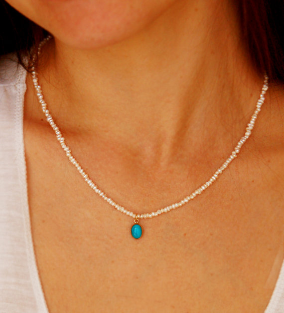 Свадьба - Pearl necklace, bridal necklace, turquoise pendant, gold necklace, turquoise and pearl necklace, tiny pearl necklace, freshwater pearl