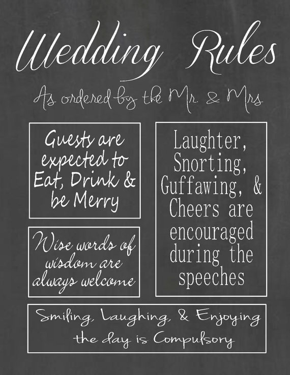 Wedding Rules Digital File Chalk Board Wedding Sign 2343985
