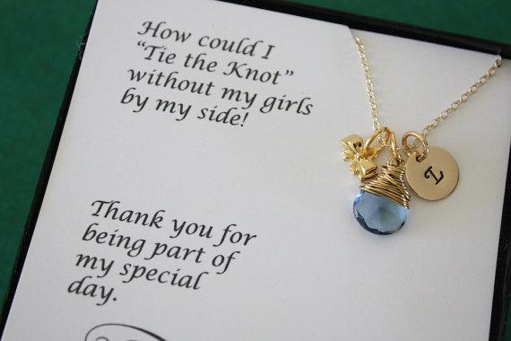 Wedding - 8 Tie the knot Bridesmaid Necklace Personalized , Bridesmaid ...
