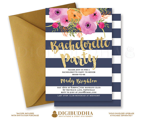bachelorette party invitation navy gold stripe bridal shower
