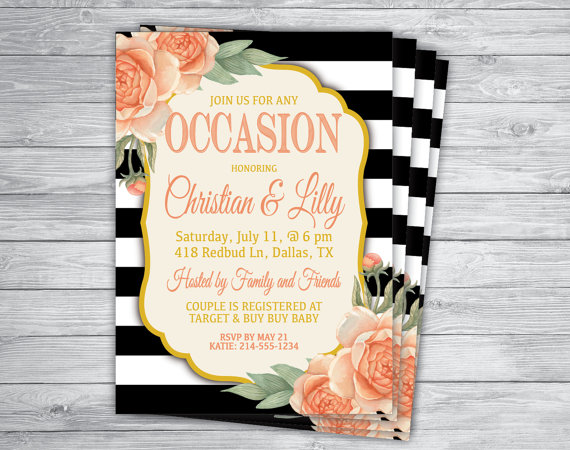 Any Color BLACK And WHITE STRIPES Shabby Chic Coral Floral Vintage ...