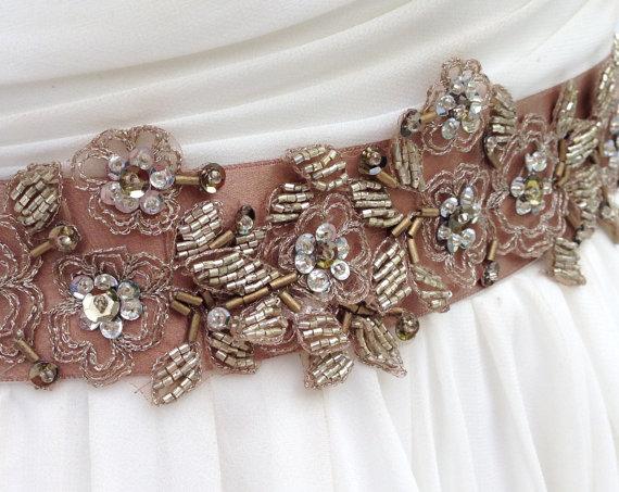 زفاف - Beaded Lace Bridal Sash In Bronze And Gold, Wedding Dress Sash, Bridal Belt, Rustic Wedding