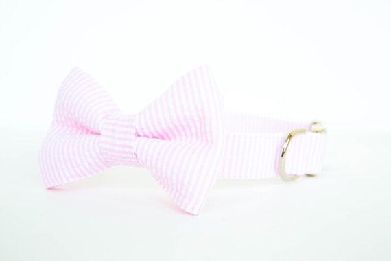 Свадьба - Bowtie Dog Collar - Pale Pink Seersucker Stripe