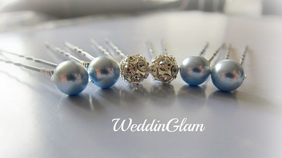 زفاف - Something Blue Hair Pins, Wedding Hair accessories, Wedding Hair Pins, Bridesmaid Hair Pins, Rhinestone Ball, Bridesmaid gift