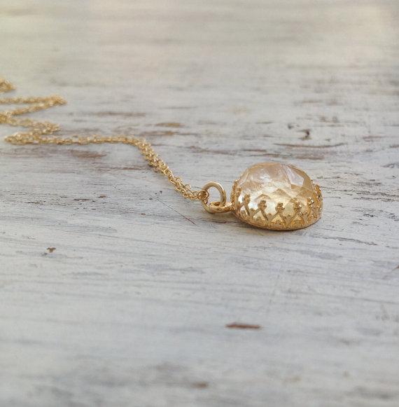 زفاف - November birthstone necklace, Citrine necklace, gold Citrine necklace, November birthstone, gemstone necklace- 30004