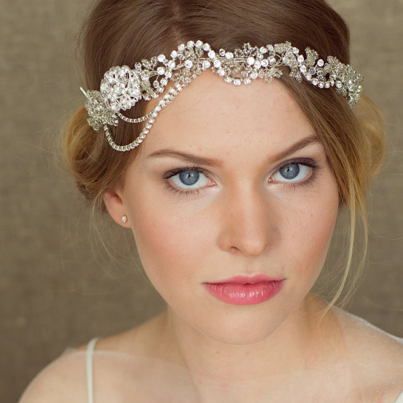bohemian bridal headpiece bridal halo boho hair vine crystal wedding headpiece crystal headband boho head piece wedding halo