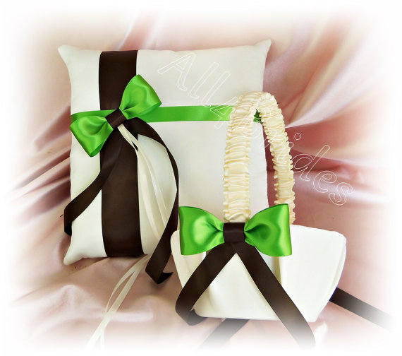 Chocolate Brown And Green Wedding Ring Pillow Flower Girl Basket Ceremony Accessories