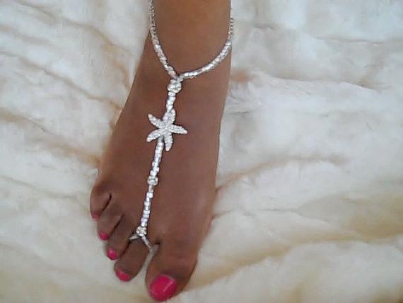 34e0d8e5d297 Bridal Starfish Foot Jewelry Wedding Starfish Barefoot Sandal Anklet Wedding  Foot Thong Barefoot Wedding Sandals Beach Wedding Barefoot