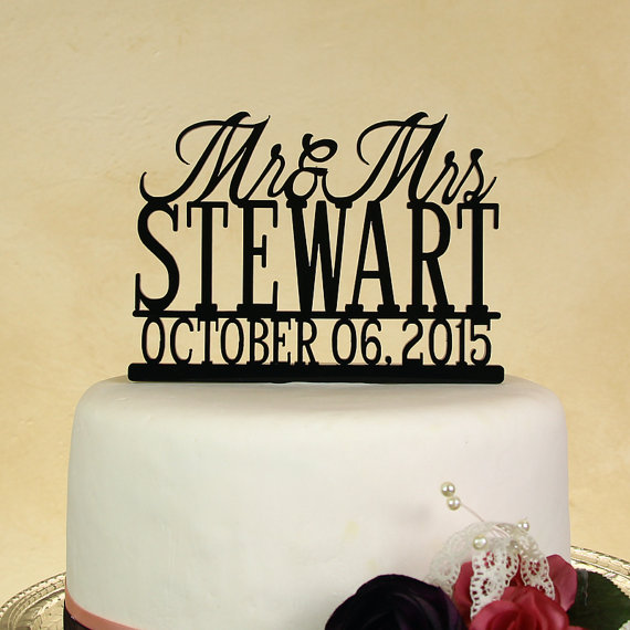 Свадьба - Wedding cake topper Mr. and Mrs. Personalized in your name with Date by Distinctly Inspired (style BD-3)