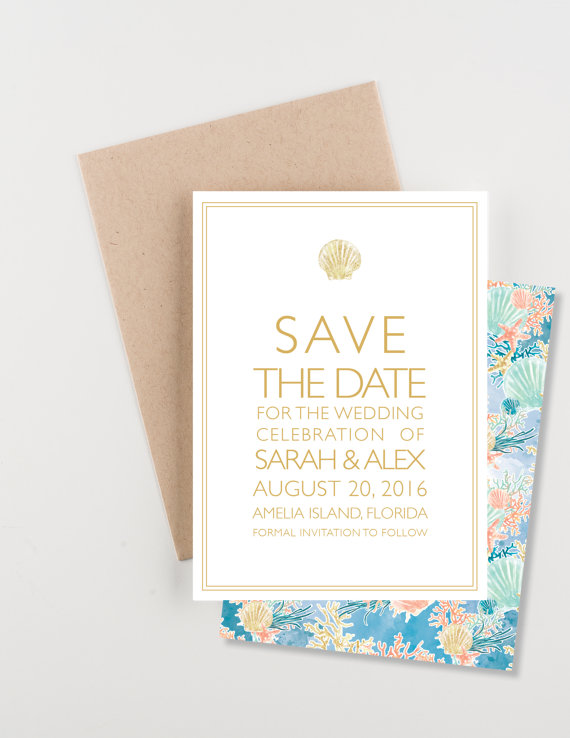 Mariage - By The Seashore Save The Date, Shells, Coral and Starfish, Mint, Gold and Coral, Wedding Announcement or Bridal Shower