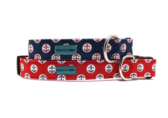 Свадьба - Ahoy - Blue or Red Nautical Anchor Dog Collar
