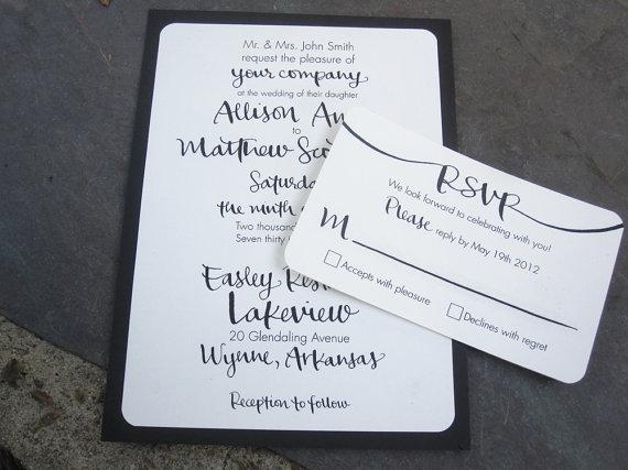 Свадьба - Digital Calligraphy Invitations For Printing - Wedding, Shower, RSVP, Save the Date