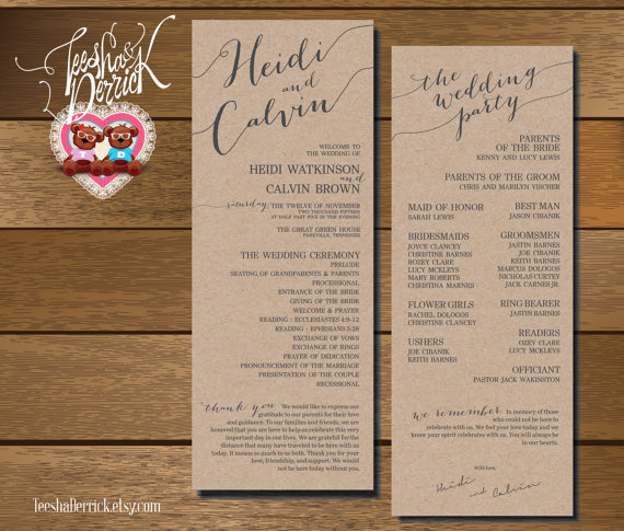 printable wedding program and ceremony order in custom design and