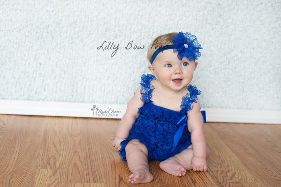 0535d61c3 SET-Royal Blue Lace Petti Romper-Lace Headband-Baby Girl Clothes ...
