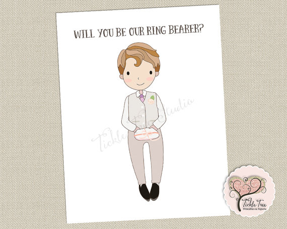 Mariage - Ring Bearer Card - Will You Be Our Ring Bearer/Hand Drawn Illustration - Mohawk Cover Cardstock