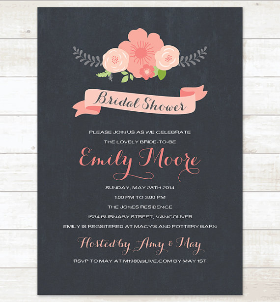 Свадьба - bridal shower chalkboard invite pink flowers bouquet bridal shower invitation pink flowers shower digital invite customizable personalized