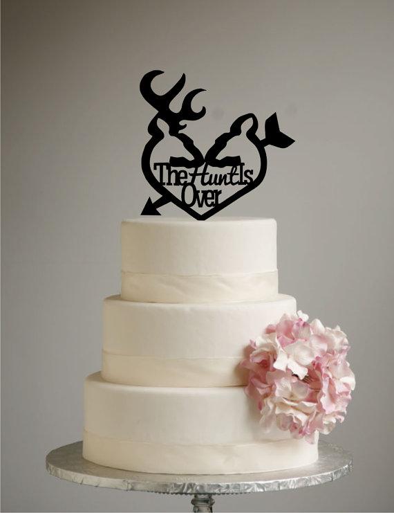 Свадьба - Deer Wedding Cake Topper - The Hunt is Over - deer heart - arrow - grooms cake  - shabby chic- redneck -cowboy - outdoor - western - rustic
