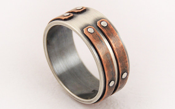 Mariage - Silver copper unique men ring - men's engagement ring,unique men ring,men's rustic ring,wedding ring