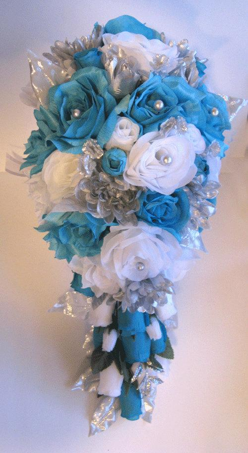 Reserved Listing Wedding Bouquet Bridal Silk Flowers Cascade