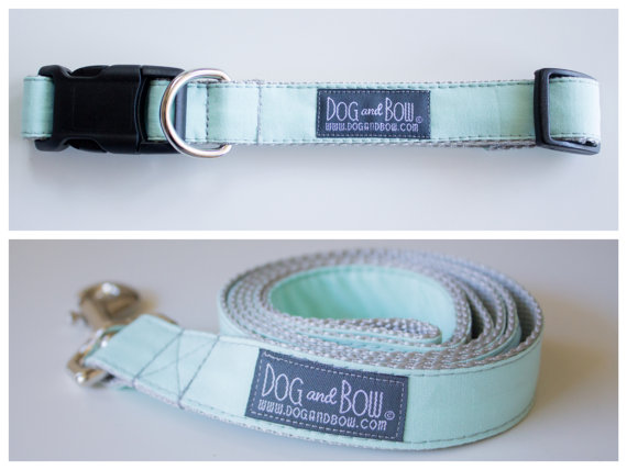 Свадьба - Pale Mint Dog Collar with Optional Leash by Dog and Bow