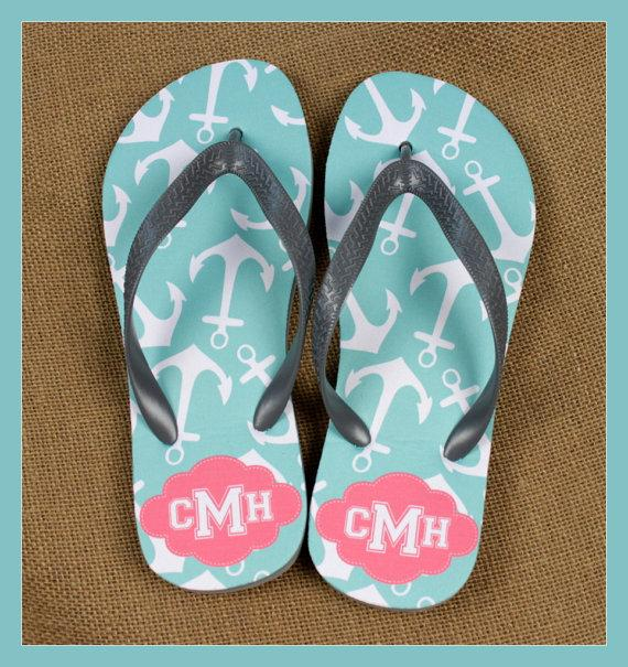 Wedding - Flip Flops Monogrammed Gift Bridal Party Bachelorette Party Wedding Teacher Graduation Personalized Custom Flip Flops Sorority Gifts for Mom