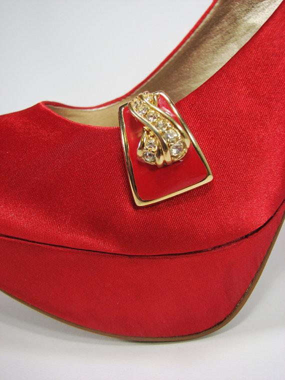 Wedding - Red Shoe Clips Rhinestone Detail Gold Upcycled Shoe Accessories