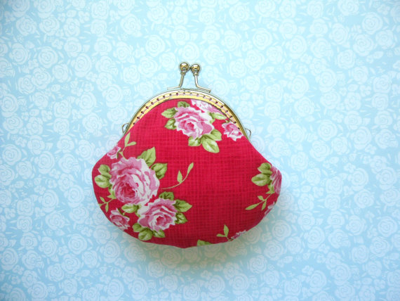 Wedding - Red Rose small clutch Coin Purse - Made from Tilda fabric - Handmade Gift, Wedding Gift