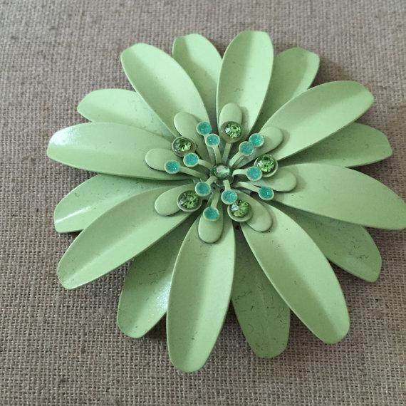 Wedding - Vintage Metal Brooch with Green Rinestones