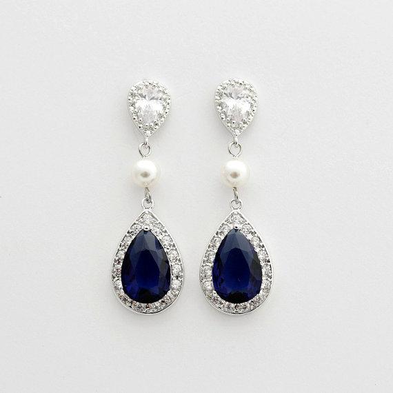 Wedding - Something Blue Earrings Dark Sapphire Blue Crystal Earrings Swarovski Pearls Large Blue Wedding Earrings Blue Cubic Zirconia Wedding Jewelry