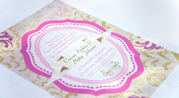 Wedding - Pink Floral Bouquet Wedding or Shower Invitation Digital Card - Customizable