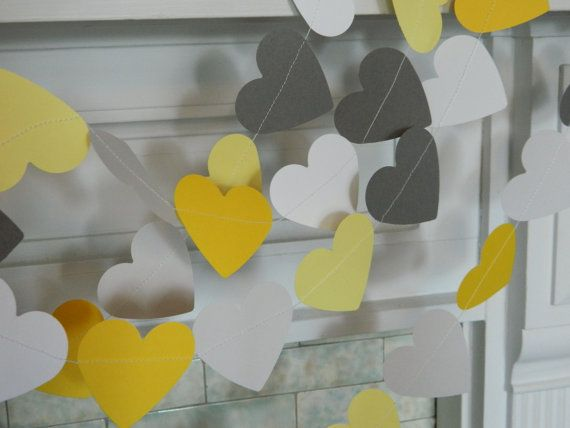 زفاف - Paper Heart Garland / 10ft Yellow Gray Paper Hearts / Wedding Decor / Bridal Shower Decor / Pick Your Colors