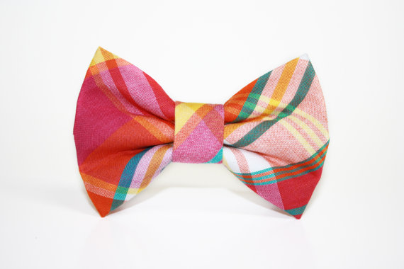 Свадьба - Dog Bow Tie- plaid- Madras plaid- wedding bot tie