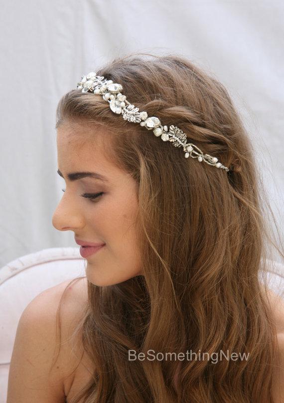 Fresh Water Pearl And Rhinestone Wedding Hair Vine With Silver Metal Leaves Beaded Headband Boho Tiara Bridal Headpiece