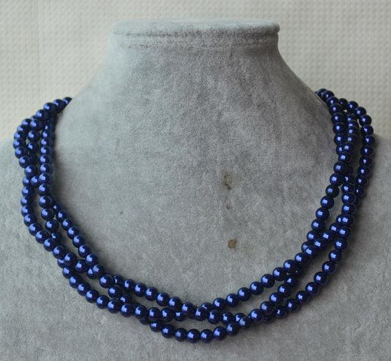 زفاف - Navy Blue Pearl Necklace,necklace,Triple Strands Necklace,Wedding Necklace,Pearl Jewelry,Bridesmaid Jewelry,Wedding Party