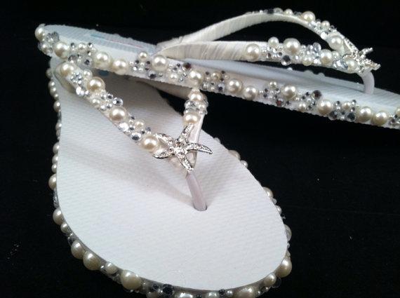 زفاف - So Sweet Bride Mariella Pearl and Crystal Starfish Bridal Wedding Flip Flops