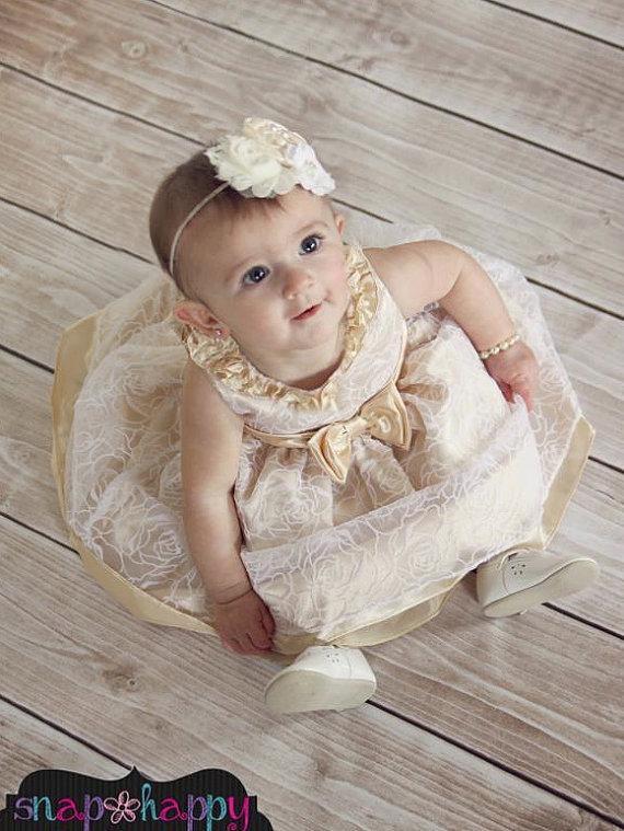 Свадьба - WEDDING COLLECTION  Fancy Ivory Cream Headband  (Newborn, Toddler, Child) Also In WHITE