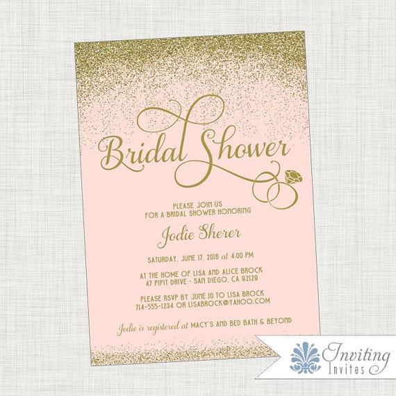 bridal shower invitation blush and gold glitter printable invitation digital file