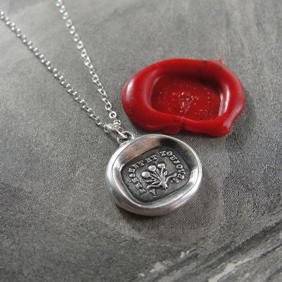 زفاف - Now And Always - wax seal necklace with rose bouquet - antique French wax seal jewelry