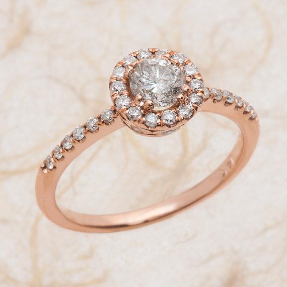 Mariage - 14k Round Diamond Rose Gold Engagement Ring Pave Set 1.00 ctw, Center Stone 0.40ctw Round Diamond G-SI2 Quality