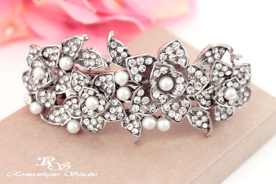 Boda - Pearl and crystal hair clip, vintage style, wedding hair clip, pearl hair clip, rhinestone hair comb, bridal hair accessories 5159P