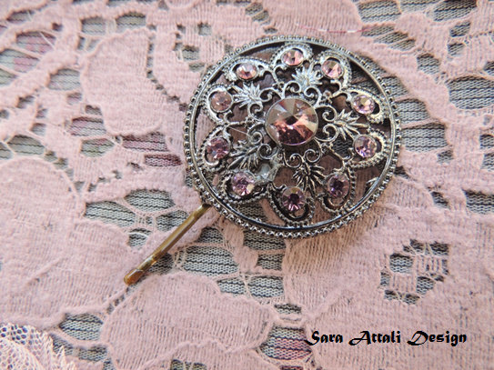 Свадьба - Vintage Antiqe Style hair pin,bridal hairpin, veil,  jewelry, accessories, Hair pin,Amazing Vintage Style Pin with Purple Stones, Bobby Pins