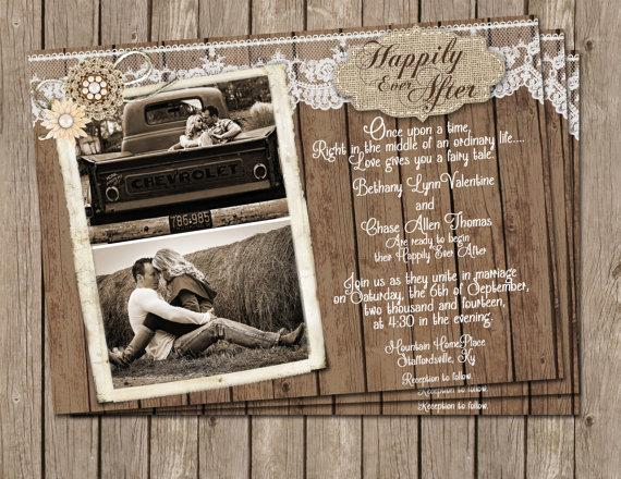 burlap and lace wedding invitation printable rustic wood wedding invite with photo 5x7 - Wood Wedding Invitations