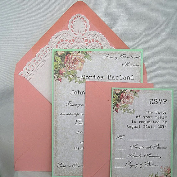 Wedding Invitation Unique Coral Peach Vintage Rose Mint Green W Doily Lace Envelope Beautiful Shabby Chic Custom Any Color