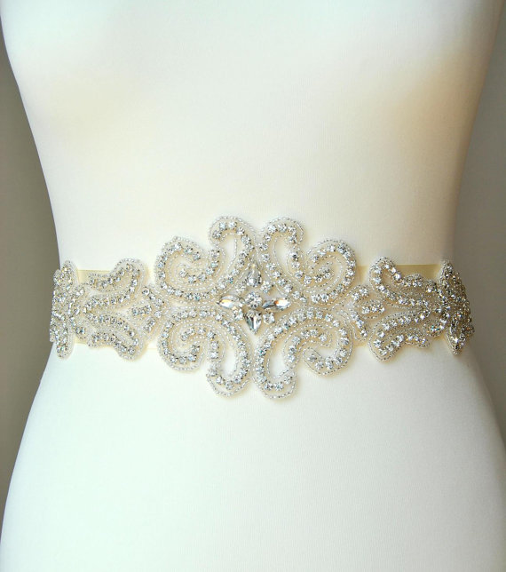 Wedding dress sash belt luxury crystal bridal sash for Wedding dress sash with rhinestones