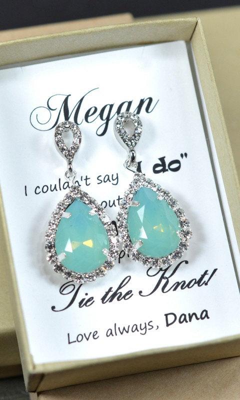 Wedding - Mint Bridesmaid Earrings,Mint Green Earrings,Mint necklace,Mint Earrings,Mint wedding jewelry, Mint Green Earring,gold Silver Bridesmaid