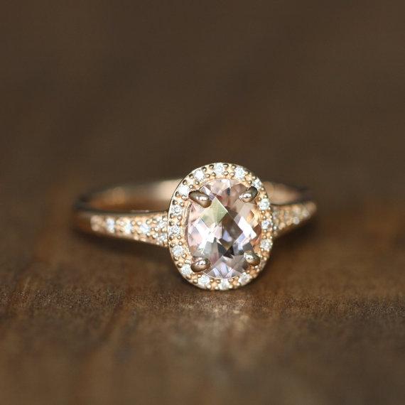 Mariage - Pink Morganite Halo Diamond Engagement Ring 14k Rose Gold Oval Morganite Wedding Ring Band, Size 7 (Resizable)