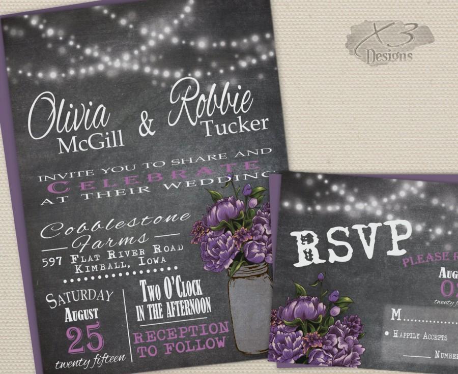 Rustic Mason Jar Wedding Invitation Suite Summer Barn Wedding Invite W String Lights