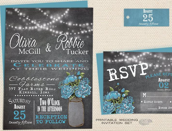 Wedding - Rustic Mason Jar Wedding Invitation, Chalkboard Wedding Invite Printable