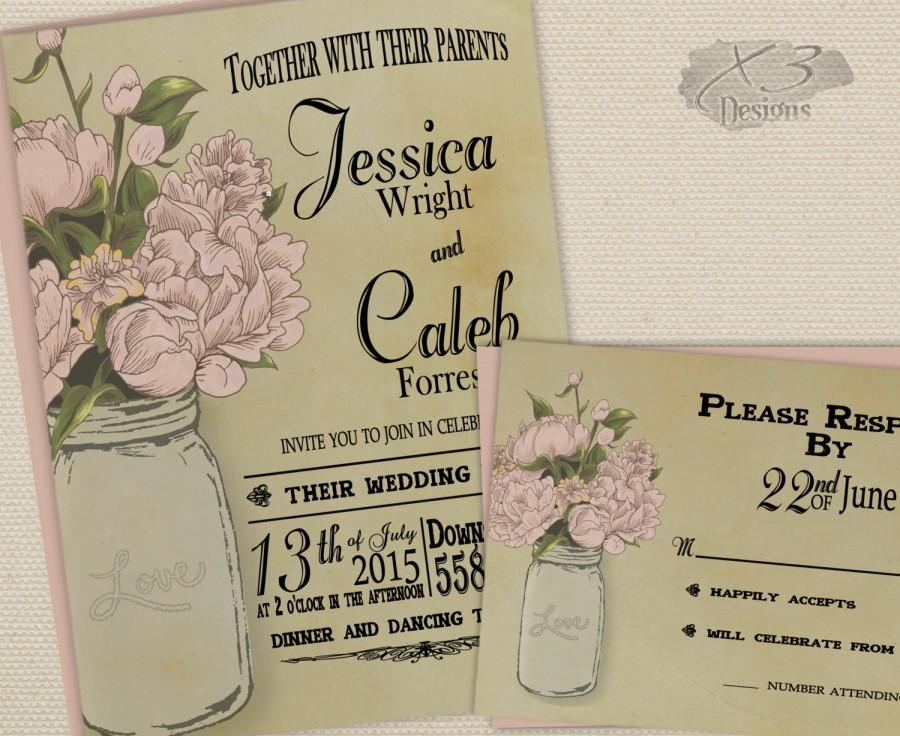 rustic mason jar wedding invitation, printable wedding invite set, Wedding invitations